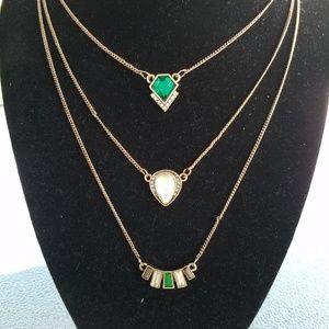 Jewelry - Crystal layered necklace, crystal jewelry, boho